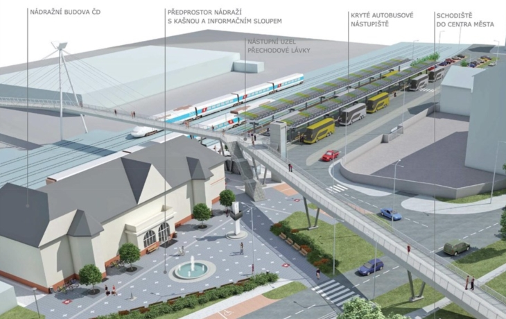 Brod otevírá dopravní terminál. Prohlídku okomentuje průvodce