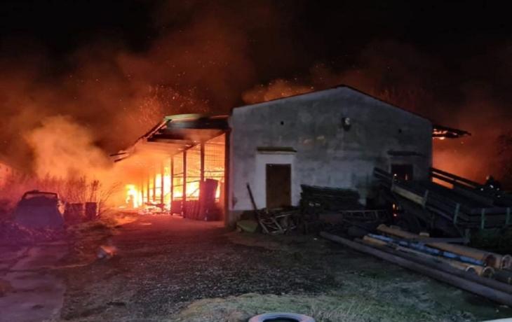 Požár seníku v Záhorovicích, škoda za více než půl milionu