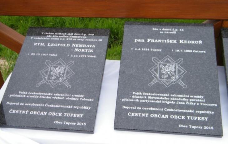 Bojovali za svobodu, obec jim odhalila pamětní desky
