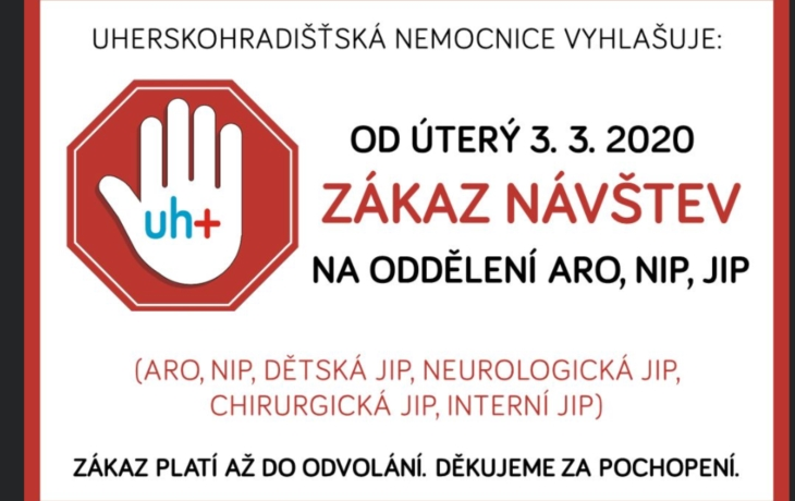 Na třech odděleních Uherskohradišťské nemocnice začal platit až do odvolání zákaz návštěv!